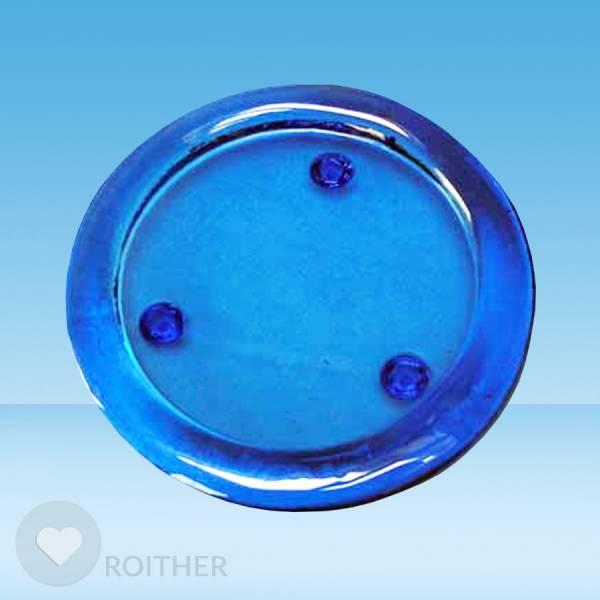 Glasuntersetzer blau rund 13,5 cm
