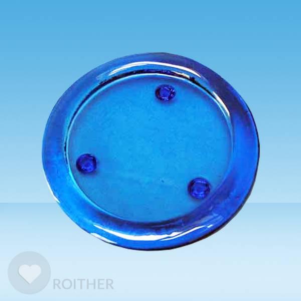 Glasuntersetzer blau, rund 13,5 cm