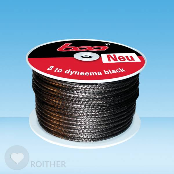 Hohltau black 8to, 25m DYNEEMA