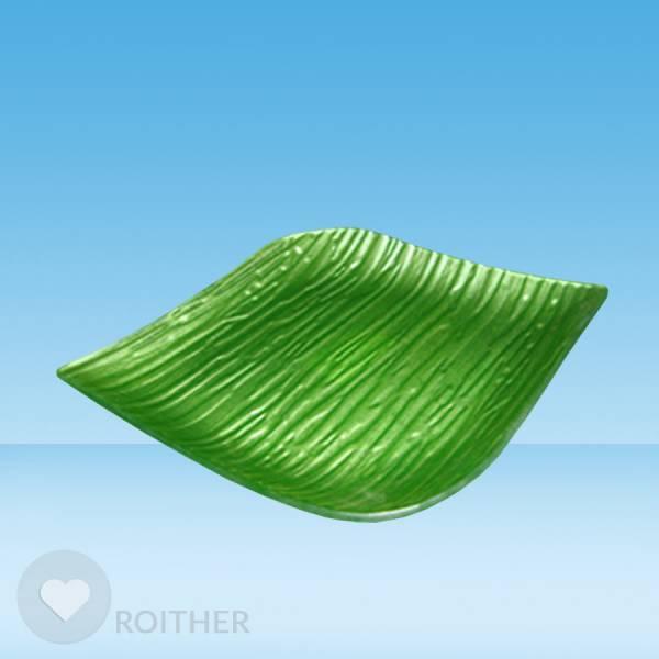 Glasteller grün 18x18 cm