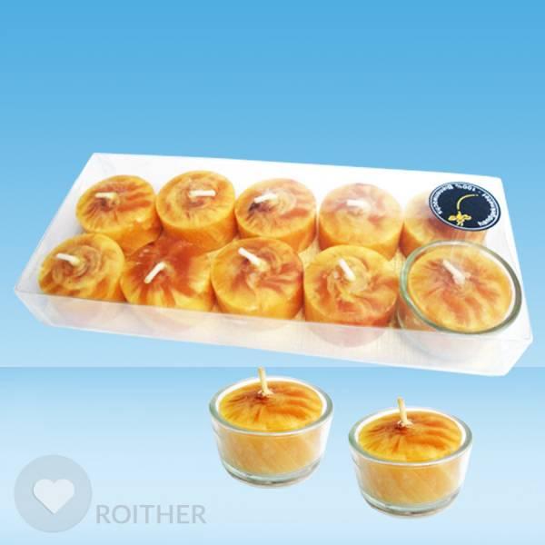 Handgeknetete Teelichter n 10er inkl. 1 Glas